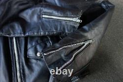 Vintage Men's Black Leather SCHOTT 618 Perfecto Classic Motorcycle Jacket 44