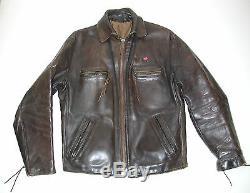 Vintage Men's Brown Leather Cafe Racer Motorcycle Biker Jacket