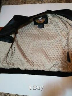Vintage Men's Harley Davidson Brown & Black Leather Bomber Jacket Milwaukee Med