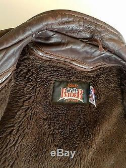 Vintage Mens Schott 46 Brown Leather Classic Cycle Rider Motorcycle Jacket USA
