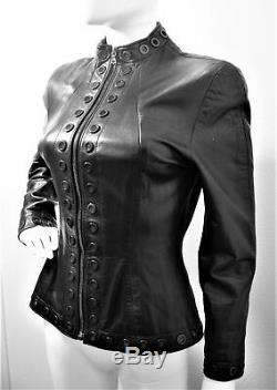 Vintage North Beach Michael Hoban Black Leather Jacket Vtg Zip Front Studded 6