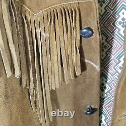 Vintage PIONEER WEAR Leather Jacket Size 36 Suede Western Fringe Jacket