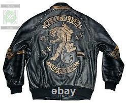 Vintage Pelle Pelle Studded Tiger Motorcycle Leather Jacket Size 50 2XL RARE