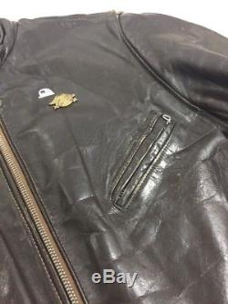 Vintage Perfecto by Schott Classic Leather Jacket Size 44 Made in USA Talon Zip