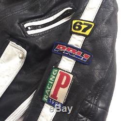 Vintage Polo Ralph Lauren 1992 Racing Leather Motorcycle Jacket Alpine Ski Team