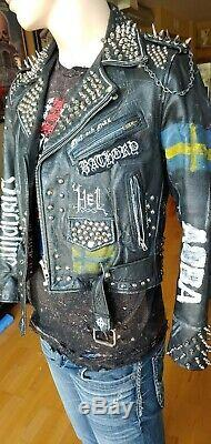 Vintage Punk Studded Leather Jacket Swedish theme. Mens Medium. The REAL DEAL