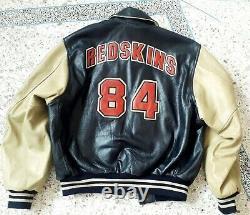 Vintage Redskins jacket varsity leather blue baseball bomber Letterman size L