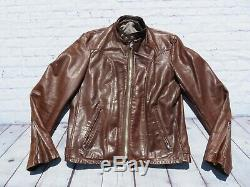 Vintage SCHOTT Brown 100% Leather Lined Cafe Riding Motorcycle Jacket sz 40 USA