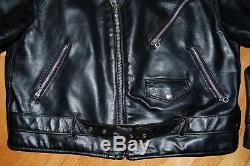 Vintage SCHOTT NYC 418 Leather Motorcycle Jacket TALON Size 48