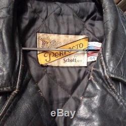 Vintage SCHOTT PERFECTO 118 destroyed biker leather jacket size 44