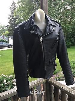 Vintage SCHOTT Perfecto Black Leather Motorcycle/Biker Jacket Sz 40 Steer hide