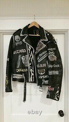 Vintage STREET PUNK Leather Jacket BIKER Coat INEPSY Leftover Crack MISFITS 1987