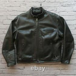 Vintage Schott 141 Cafe Racer Leather Motorcycle Jacket Size 48 Made in USA