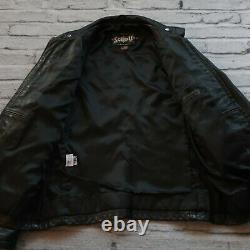 Vintage Schott 654 Cafe Racer Leather Motorcycle Jacket Size S Made in USA