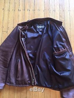 Vintage Schott Cafe Racer Leather Jacket Size M Motorcycle Moto Brown