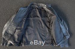 Vintage Schott Cafe Racer Leather Jacket Size XL 2XL Coat Motorcycle Moto Black