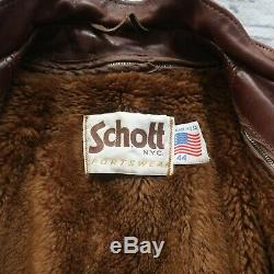 Vintage Schott Leather Cafe Racer Motorcycle Jacket Size 44 Made in USA