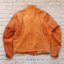 Vintage Schott Leather Cafe Racer Motorcycle Jacket Size 46 Made in USA Biker