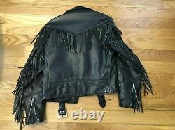 Vintage Schott Leather Jacket Belted Fringe NYC Perfecto style size 38