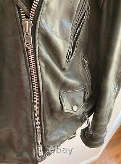 Vintage Schott NYC Perfecto Black Leather Motorcycle Jacket 46