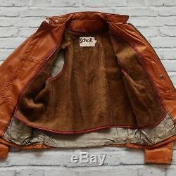 Vintage Schott NYC Sportswear Leather Cafe Racer Motorcycle Jacket Biker