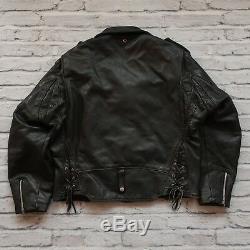 Vintage Schott Perfecto Leather Motorcycle Jacket Mens Size 46 Lot 125 Biker