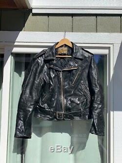 Vintage Schott Perfecto Leather Motorcycle Jacket Size 42 Large 1970s Steerhide