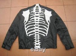 Vintage Skeleton Bone Patch Leather Motorcycle Racing Biker Jacket vanson