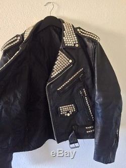 Vintage Studded Heavy Duty Leather Motorcycle Jacket Men's Sz L 38 40 42 XL