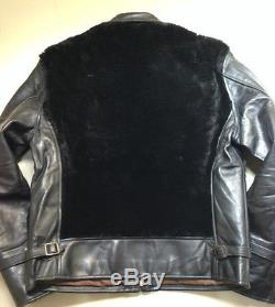 Vintage Style Eyes & Co. TOYO grizzly horsehide leather biker jacket size 38