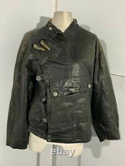 Vintage Swedish Tanker Distressed Leather Motorcycle Jacket Size M