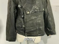 Vintage Swedish Tanker Distressed Leather Motorcycle Jacket Size M