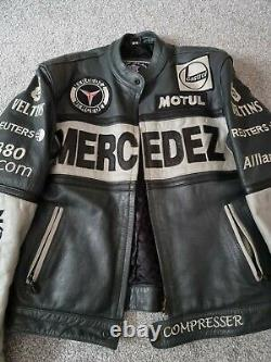 Vintage Top Gear Mercedes Leather Motorcycle Racing Jacket Size S