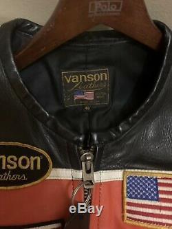 Vintage VANSON Motorcycle leather jacket 46 Genesis Race Jacket RARE
