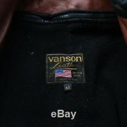 Vintage Vanson Cafe Racer Leather Motorcycle Jacket Liner Brown