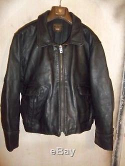 Vintage Vanson Highway Patrol Leather Motorcycle Bikers Jacket Size 54 3/4 XL