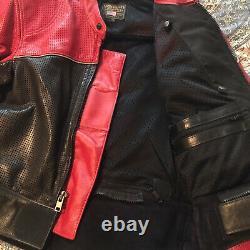 Vintage Vanson Perforated Leather Black & Red Motorcycle Jacket Size 42