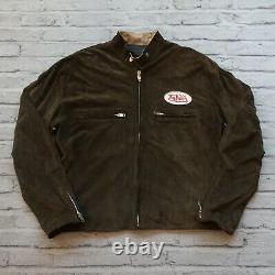 Vintage Von Dutch Suede Cafe Racer Leather Motorcycle Jacket Coat 90s