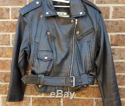Vintage WILSONS Black Leather Jacket XS Moto Crop Belt Punk Motorcycle