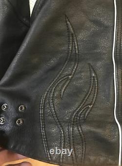 Vintage Womans Harley Davidson Leather Jacket XL Black/White