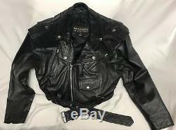 Vintage Women's Wilsons Black Leather Cropped Motorcycle Jacket Sz M Biker