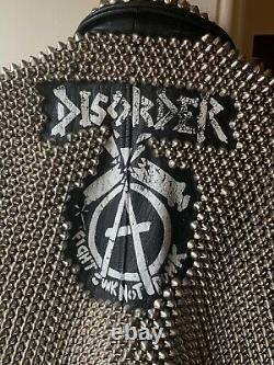 Vintage studded metal punk leather jacket