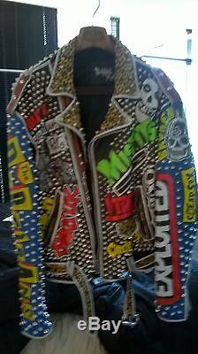 Vintage studded punk leather jacket casualities exploited misfits gbh size xl46