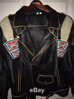 Volcano Like Design Mint-Black Leather Native American Biker jacket Size L/XL