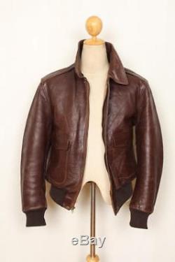 Vtg 1940s HORSEHIDE Leather Flight Motorcycle Jacket Size Medium