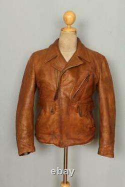 Vtg 1940s HORSEHIDE Leather Half Belt Sports Cross Zip Jacket Small