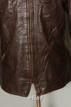 Vtg 1940s HORSEHIDE Leather Half Belt Sports Motorcycle Jacket Medium/Large