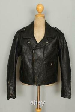 Vtg 1940s HORSEHIDE Leather Motorcycle Biker Jacket Large/XLarge