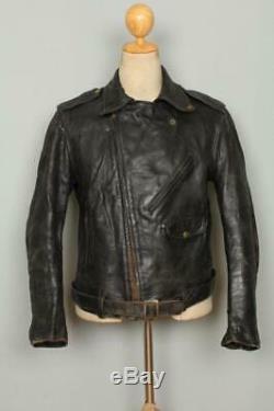 Vtg 1940s Horsehide D-POCKET Leather Motorcycle Sports Jacket Small/Medium