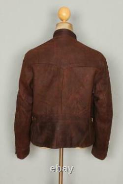 Vtg 1940s Hudsons Bay Half Belt Leather Sports Motorcycle Jacket Size Medium
